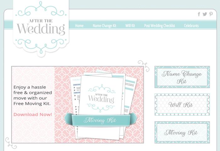 after the wedding wordpress website design
