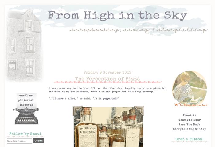Custom Blogger Design for From High in the Sky Blog Design