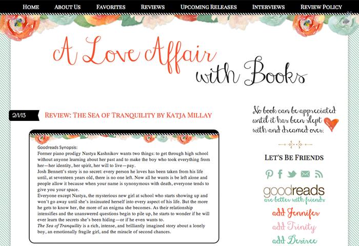 Custom Blog Design for A Love Affair with Books