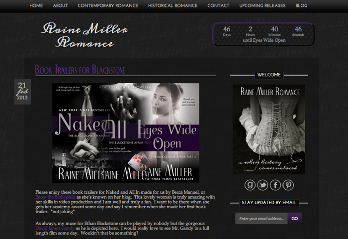 Raine Miller Wordpress Blog Page