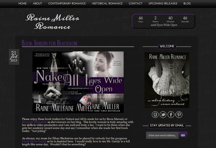 Raine Miller WordPress Blog Page