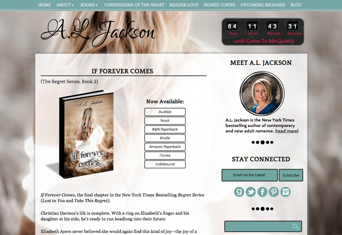 beautiful author website design for a l jackson by priceless design. Black Bedroom Furniture Sets. Home Design Ideas