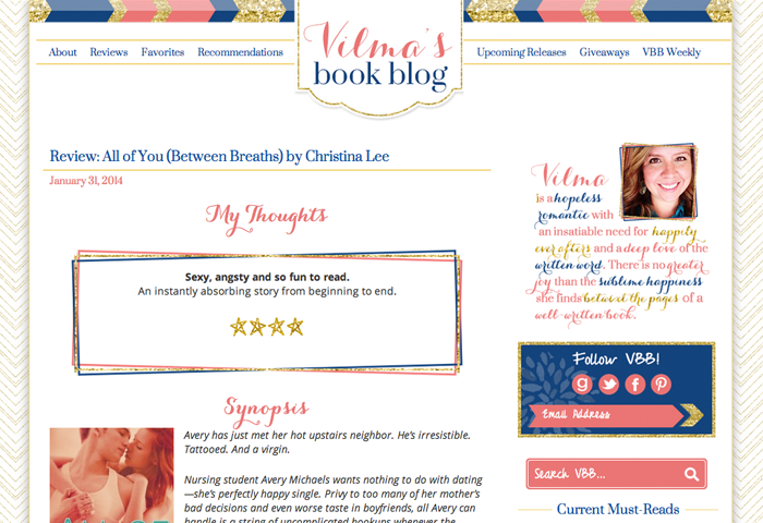 Vilmasbookblogdesign. Custom WordPress Book Blog Design