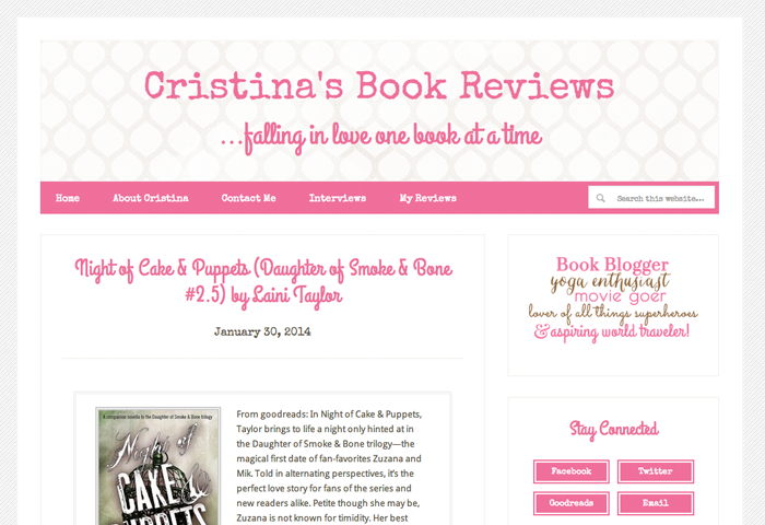 Cristinas Book Reviews Book Blog Design
